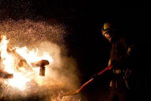 fire, firefighter, sparks